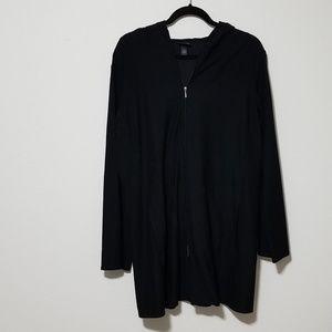Eileen Fisher Zip Up Hooded Black Pocket Cardigan